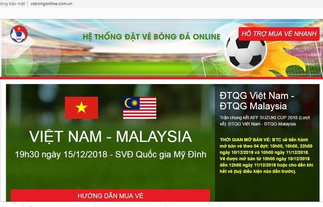 Website giả mạo có giao diện giống hệt với web bán vé của VFF, tên miền cũng gần giống