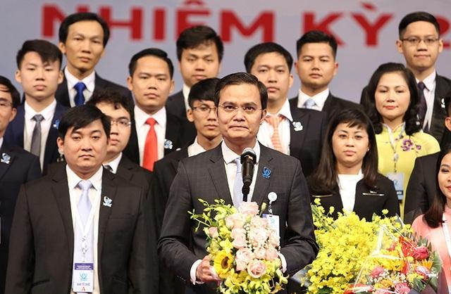 Anh Bùi Quang Huy - Tân Chủ tịch Hội Sinh viên Việt Nam phát biểu nhận nhiệm vụ