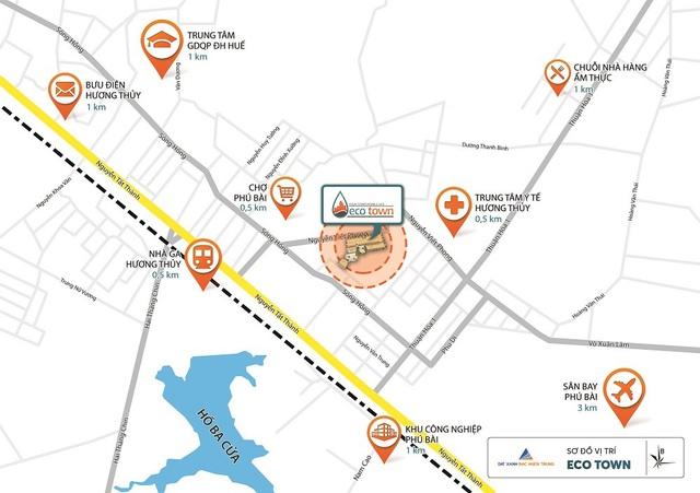 Eco Town nối liền các tuyến đường huyết mạch và nằm ngay vị trí trung tâm của các tiện ích, cho cư dân tận hưởng cuộc sống
