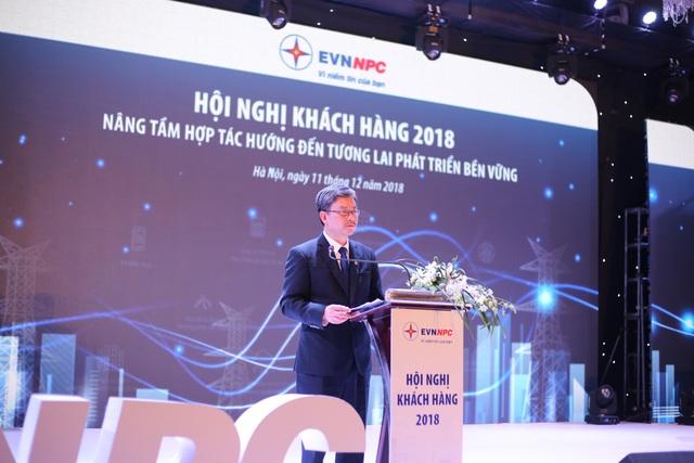 Lãnh đạo EVNNPC phát biểu tại Hội nghị khách hàng 2018