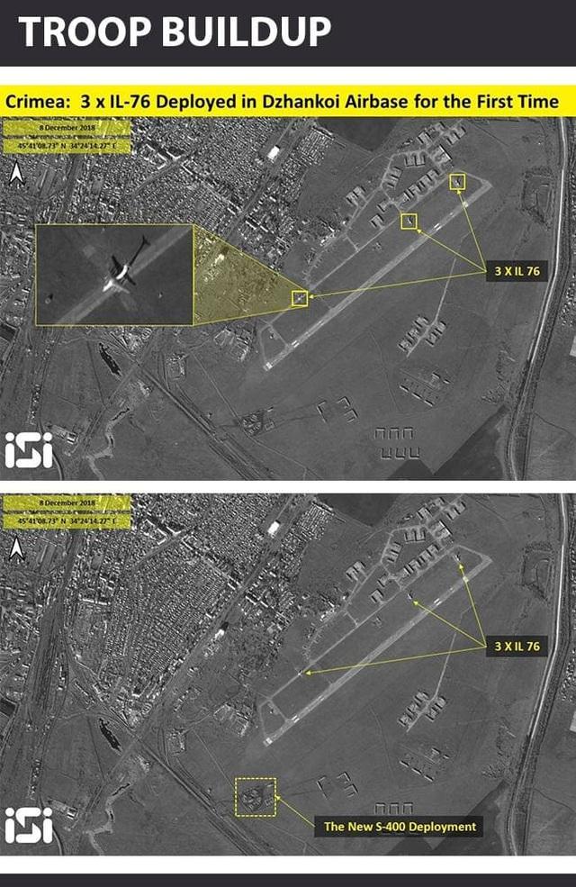 Ảnh vệ tinh cho thấy 3 máy bay Il-76 và hệ thống S-400 của Nga tại căn cứ Dzhankoi ở Crimea. (Ảnh: ISI)