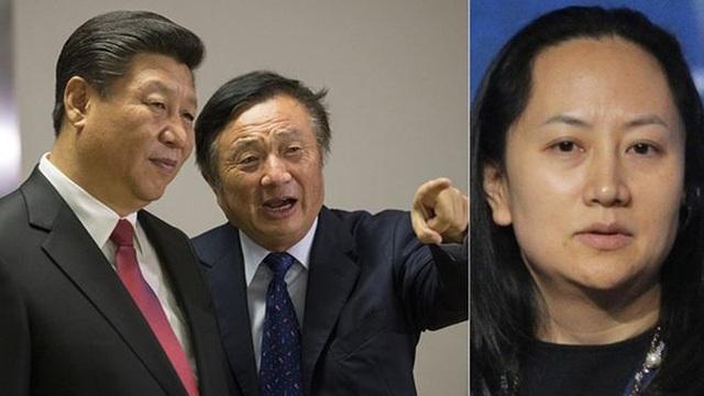 Bà Mạnh Vãn Châu (phải) và cha là người sáng lập Huawei Nhậm Chính Phi (giữa) cùng Chủ tịch Trung Quốc Tập Cận Bình (trái). Ảnh: AFP