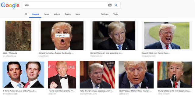 """Kết quả tìm kiếm bằng hình ảnh cho từ khóa """"idiot"""" (kẻ ngốc) đã được trả về với nhiều hình ảnh của tổng thống Donald Trump"""