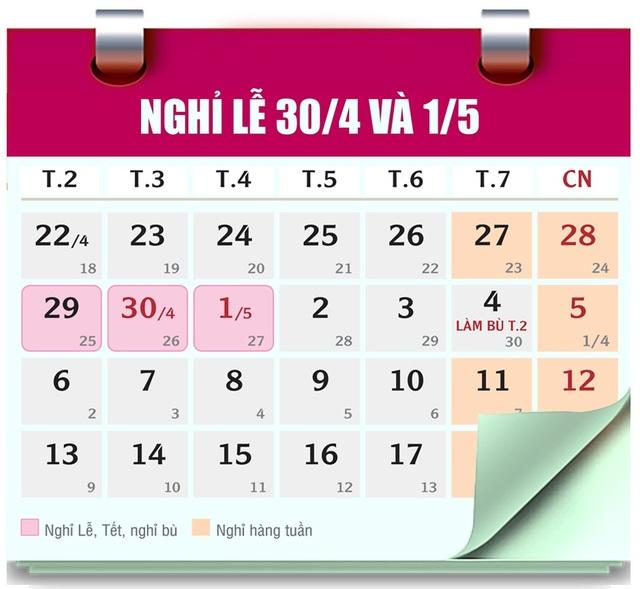 Dịp 30/4 và 1/5 có 5 ngày nghỉ, từ 27/04/2019 - 01/05/2019 (gồm: 2 ngày nghỉ cuối tuần, 2 ngày nghỉ chính Lễ và 1 ngày nghỉ bù).