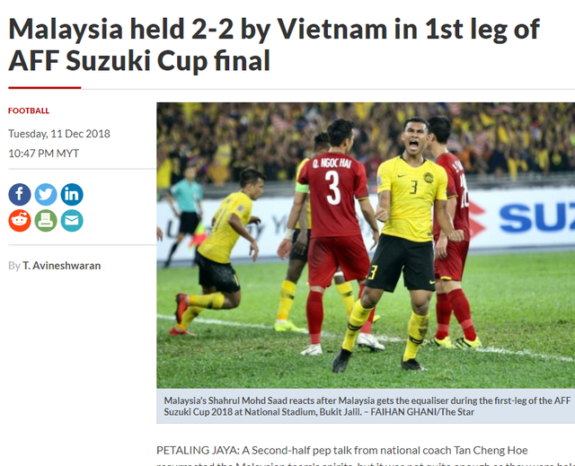 Tờ The Star ca ngợi tinh thần chiến đấu của Malaysia trước Việt Nam