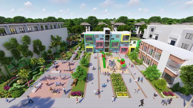 Phối cảnh trường mẫu giáo, công viên nội khu và khu vui chơi của dự án The Sun City.