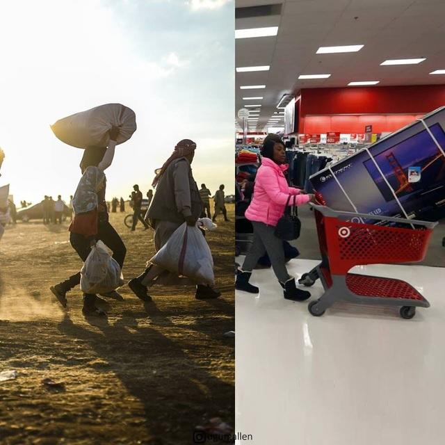 Người tị nạn cố gắng mang theo những gì quan trọng nhất khỏi nhà, người hạnh phúc sẽ mang về nhà những gì mình muốn