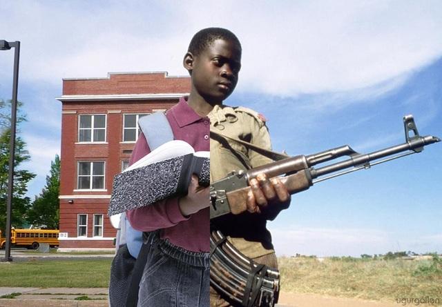 Thay vì được cầm sách đến trường, nhiều đứa trẻ đang phải cầm súng để chiến đấu