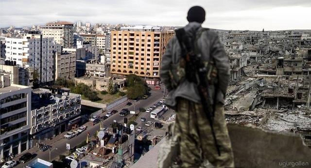 Đối lập với thành phố tươi đẹp và yên bình là sự đổ nát của chiến tranh