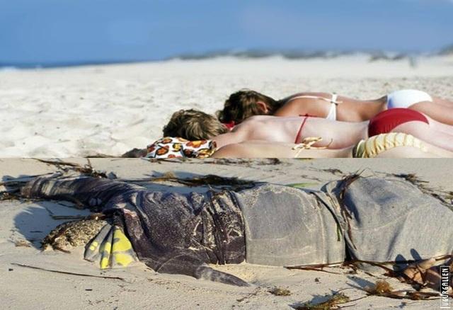 Cùng nằm trên bãi biển, nhưng ở những tình huống hoàn toàn khác nhau