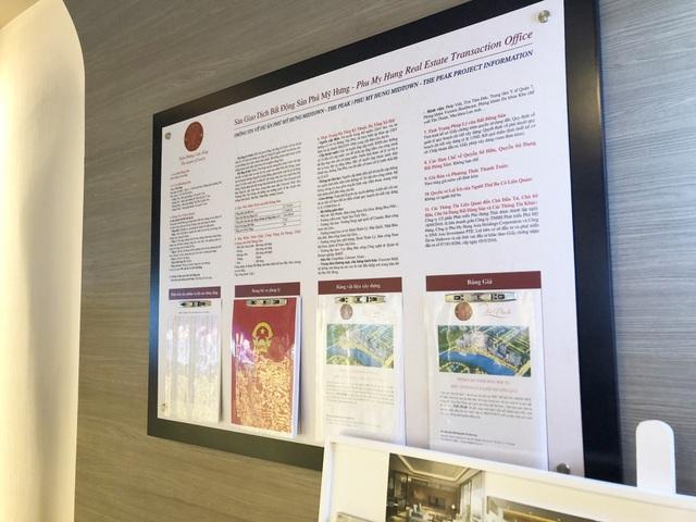 Ngay tại sàn giao dịch, các thông tin liên quan đến dự án cũng đều được niêm yết công khai như: quy hoạch chi tiết 1/500, giấy chứng nhận quyền sử dụng đất ở, giấy phép xây dựng, bảng vật liệu xây dựng, bảng giá...