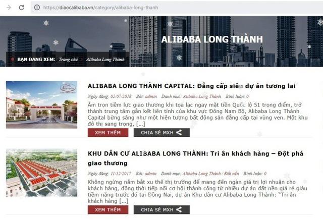 """Các dự án """"trên giấy"""" của Công ty Alibaba tại tỉnh Đồng Nai được quảng bá rầm rộ trong khi các cơ quan chức năng của tỉnh Đồng Nai chưa chấp nhận chủ trương đối với bất kỳ dự án khu dân cư nào của công ty này."""