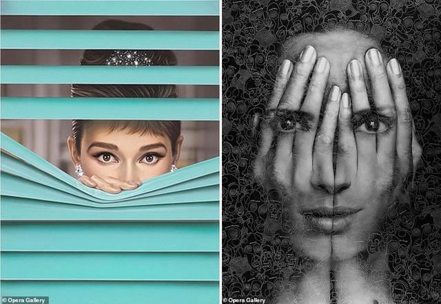 """Họa sĩ người Đức Michael Moebius là tác giả của bức tranh bên trái - """"Tiffany Blue II"""" - lấy cảm hứng từ minh tinh điện ảnh Audrey Hepburn. Họa sĩ Tigran Tsitoghzyan là tác giả của bức tranh bên phải - """"Mirror II""""."""