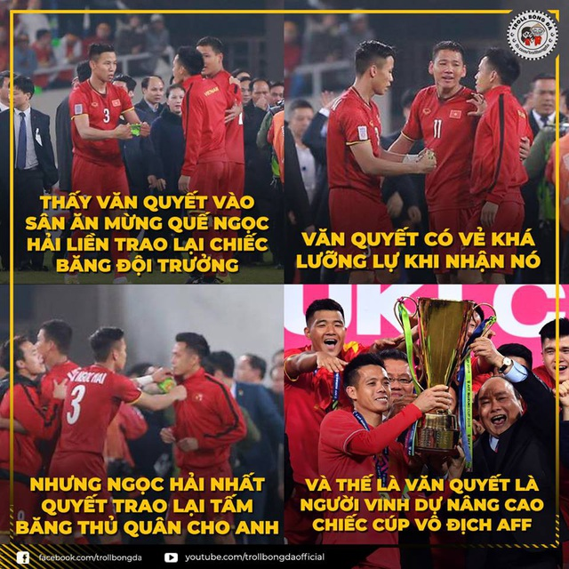 Một khoảnh khắc đẹp về tình đồng đội của các cầu thủ Việt Nam được dân mạng ghi nhận được (Ảnh: Troll bóng đá)