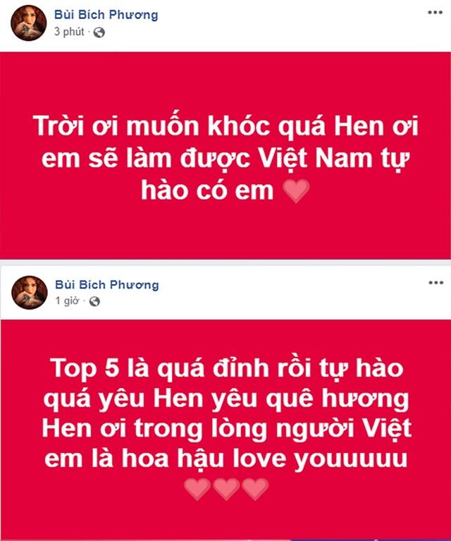 Ca sĩ Bích Phương xúc động trước thành tích của Hhen Niê tại chung kết Hoa hậu Hoàn vũ. Mặc dù chỉ lọt top 5 nhưng trong lòng khán giả Hhen Niê đã là hoa hậu.