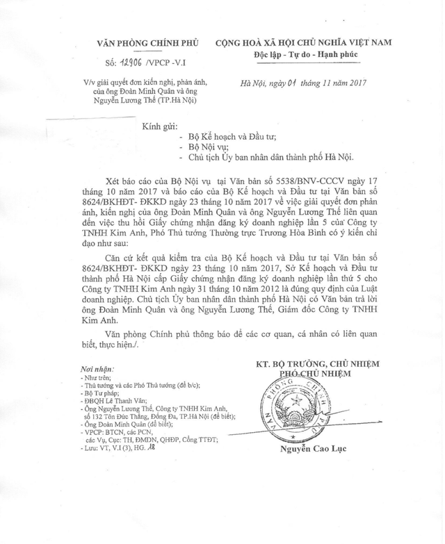 Phó Thủ tướng Trương Hoà Bình chỉ đạo, Sở Kế hoạch và Đầu tư TP Hà Nội cấp Giấy chứng nhận đăng ký doanh nghiệp lần thứ 5 cho công ty TNHH Kim Anh ngày 31/10/2012 là đúng quy định của Luật Doanh nghiệp.