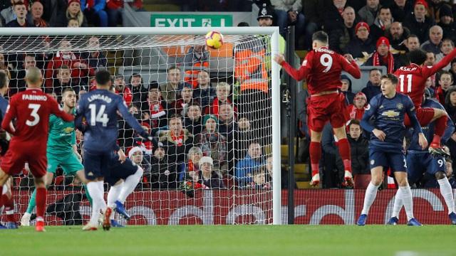 Pha dứt điểm trên không của Firmino, tiền đạo cắm của Liverpool thường xuyên chơi dạt ra cánh để cho Salah xâm nhập trung lộ