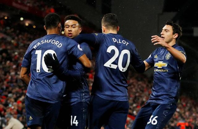Các cầu thủ Man Utd khá vui mừng với bàn thắng quân bình tỉ số