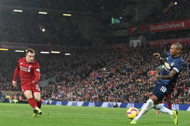 Shaqiri chỉ mất có 3 phút để ghi tên trên bảng tỉ số, Young đã hỗ trợ anh ghi bàn