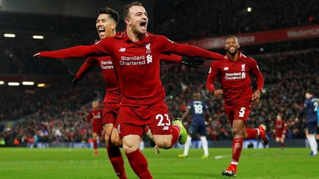 Niềm vui của Shaqiri với cú đúp bàn thắng đưa Liverpool tới chiến thắng