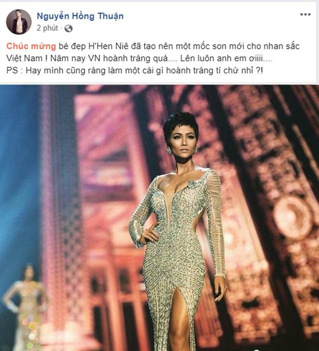 Nhạc sĩ Nguyễn Hồng Thuận chia sẻ: Chúc mừng bé đẹp HHen Niê đã tạo nên một mốc son mới cho nhan sắc Việt Nam! Năm nay Vieseth Nam hoành tráng quá.