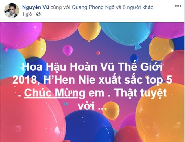 Ca sĩ Nguyên Vũ cho rằng Hhen Niê đã có thành tích rất xuất sắc và gửi lời chúc mừng đến Hhen Niê.