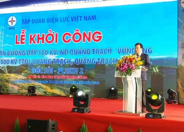 Phó Thủ tướng Trịnh Đình Dũng phát biểu tại lễ khởi công