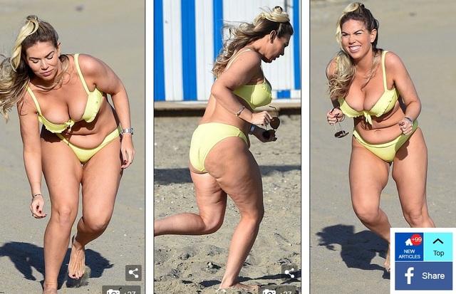 Sao truyền hình thực tế Frankie Essex lộ da nhăn nheo, vòng eo ngấn mỡ khi thư giãn trên bãi biển Tenerife ngày 18/12 vừa qua