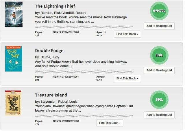 Website fab.lexile.com cung cấp danh mục hàng chục ngàn đầu sách theo các chủ đề khác nhau với thang điểm Lexile tương ứng (màu xanh) để học sinh lựa chọn theo trình độ và sở thích.