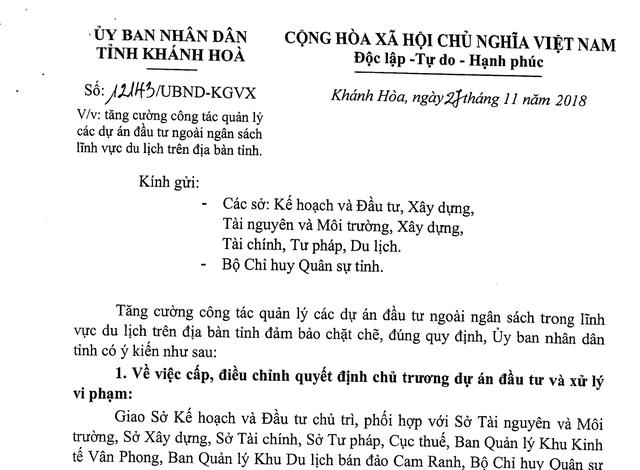 Văn bản được cho là trái luật của UBND tỉnh Khánh Hòa