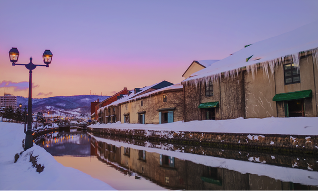 Những dãy nhà phủ đầy tuyết trắng xoá, đẹp như một bức tranh tả thực tại Hokkaido Nhật Bản