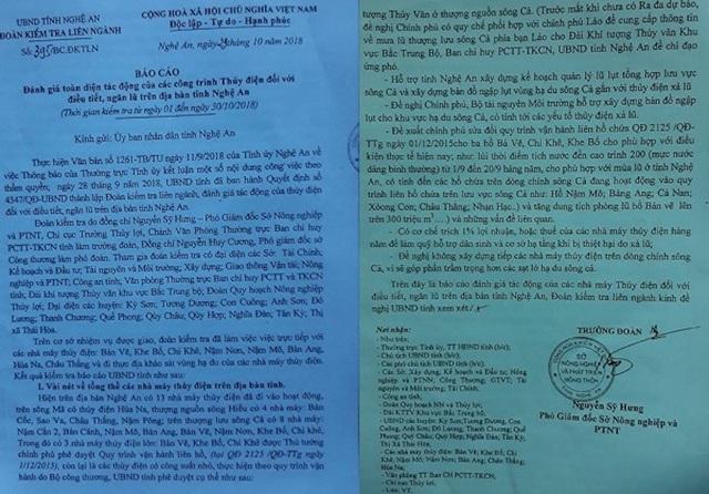 Bá cáo kết quả kiểm tra các nhà máy thủy điện trên địa bàn tỉnh Nghệ An chỉ ra rất nhiều tồn tại, bất cập.