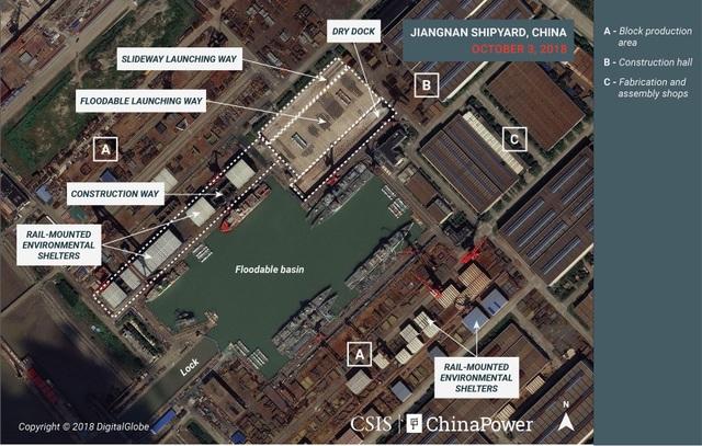 Ảnh vệ tinh cho thấy Trung Quốc đẩy mạnh đóng tàu chiến phục vụ tham vọng biển - Ảnh 1.