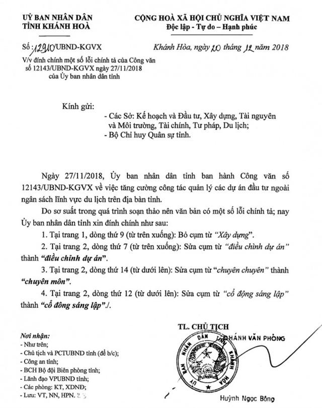 Bất ngờ chuyện UBND tỉnh Khánh Hòa đính chính một văn bản be bét lỗi chính tả - Ảnh 1.