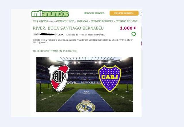 Một chiếc bút bi kèm theo quà tặng là cặp vé trận  Boca Juniors và River Plate được hét lên tới 1000 euro
