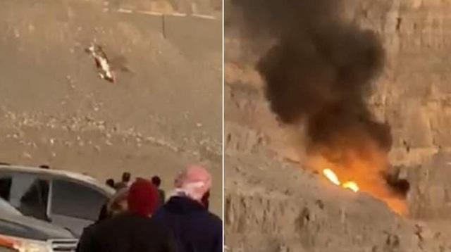 Hình ảnh trực thăng bốc cháy trong vụ tai nạn (Ảnh: khaleejtimes)