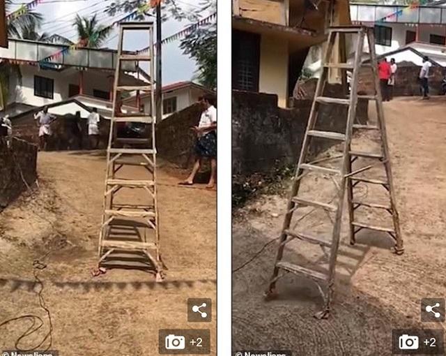 Chiếc thang không hề có dây nối.