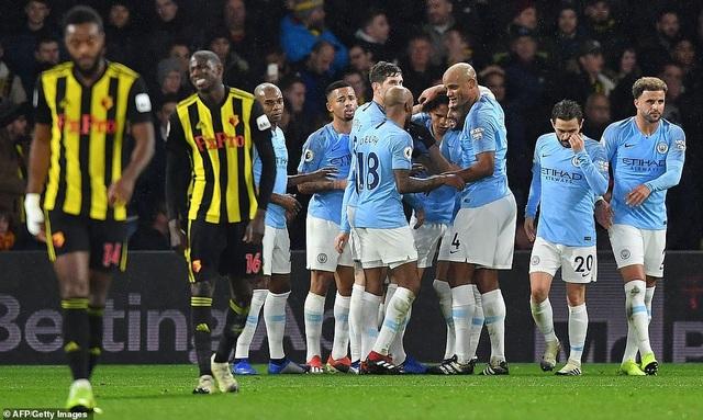 Cầu thủ Man City ăn mừng sau khi ghi bàn vào lưới của Watford