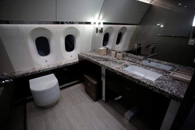 Nhà vệ sinh trên máy bay sử dụng đá vân.