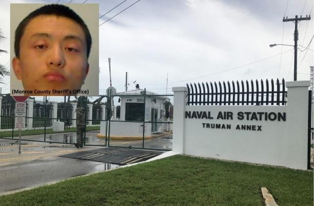 Nghi phạm Zhao Qianli (ảnh nhỏ) và ảnh chụp khu vực thuộc căn cứ quân sự ở Key West, Florida (Ảnh: Hải quân Mỹ)