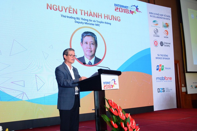Thứ trưởng Bộ TT&TT Nguyễn Thành Hưng chia sẻ tại Ngày Internet Việt Nam.