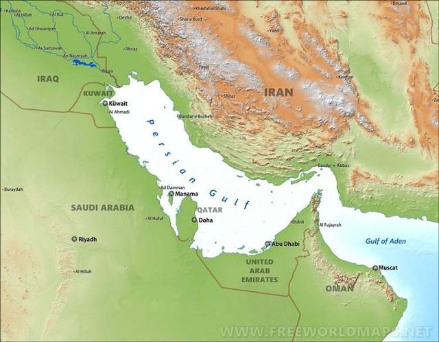 Bản đồ vịnh Ba Tư (Ảnh: FWM)