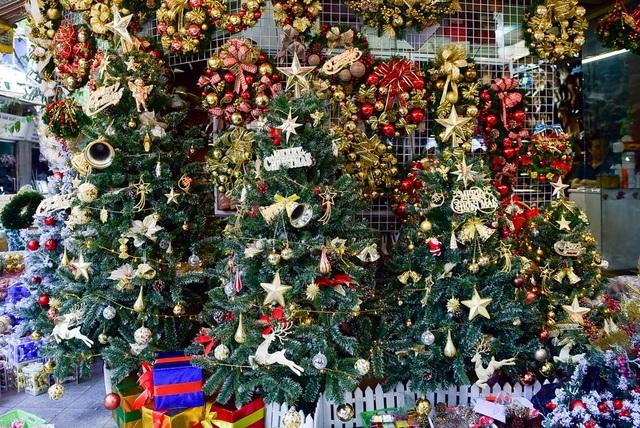 Vẫn như mọi năm, cây thông vẫn là mặt hàng không thể thiếu trong mỗi dịp Giáng sinh về và hiện là mặt hàng được lựa chọn nhiều nhất. Với các loại cây thông nhỏ và vừa thường có giá từ 200 - 500 nghìn đồng/cây; loại cây to, cao và được trang trí bắt mắt hơn thì sẽ có giá cao hơn.
