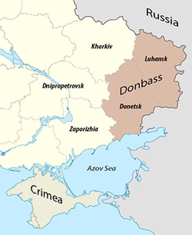 Vùng Donbas, có nhiều người gốc Nga sinh sống, là tâm điểm xung đột giữa chính phủ Ukraine và những người muốn ly khai (bản đồ: wikipedia)