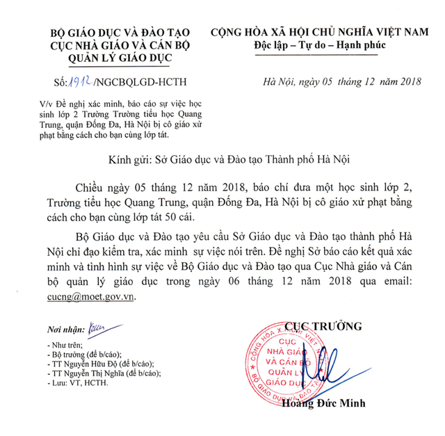 Bộ GD&ĐT yêu cầu Hà Nội báo cáo việc giáo viên phạt học sinh 50 cái tát - 1