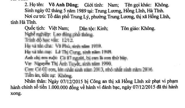 Bị cáo Võ Anh Dũng bị truy tố tội Tổ chức đánh bạc, trước đó từng bị Công an thị xã Hồng Lĩnh xử phạt hành chính số tiền 1 triệu đồng vì tội đánh bạc.