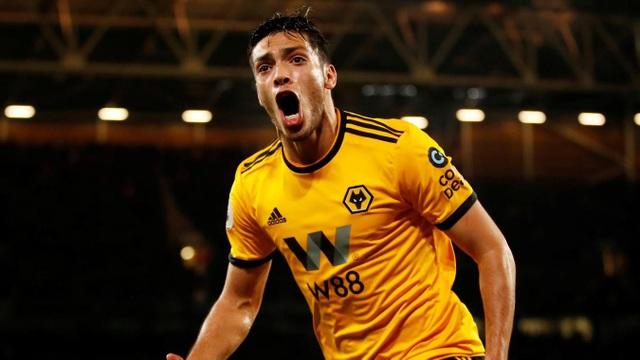 Niềm vui của Jimenez, anh giúp Wolves ghi bàn ở hòa ở phút 60 sau cú sút trúng đích đầu tiên của đội bóng này