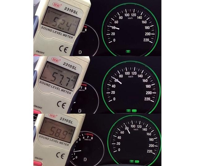 Khả năng chống ồn, bộ lốp do Yokohama giúp chiếc HR-V không bị quá ồn. Thông số đo được trên đường quốc lộ ở các dải tốc độ thực tế.