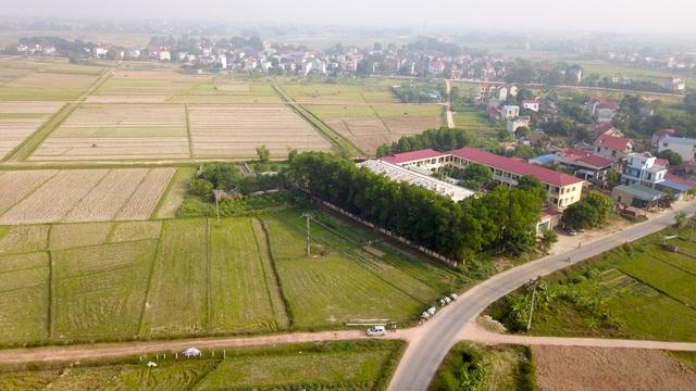 Khu vực dự kiến triển khai dự án nằm sau trường mầm non Tân Minh A (Sóc Sơn, Hà Nội).