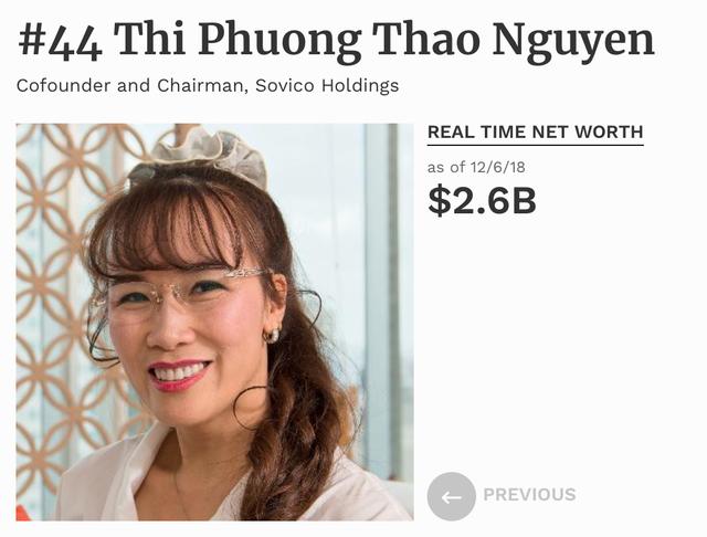 Theo xếp hạng của Forbes, bà Nguyễn Thị Phương Thảo đang xếp thứ 44 trong danh sách những phụ nữ quyền lực nhất thế giới